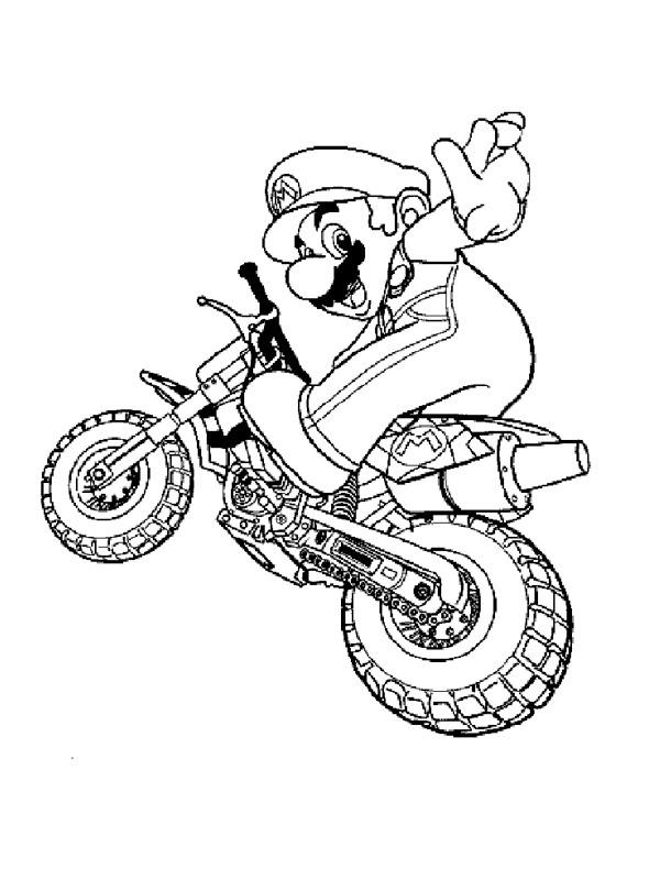Ausmalbilder Mario Auf Dem Motorrad Besteausmalbilder De