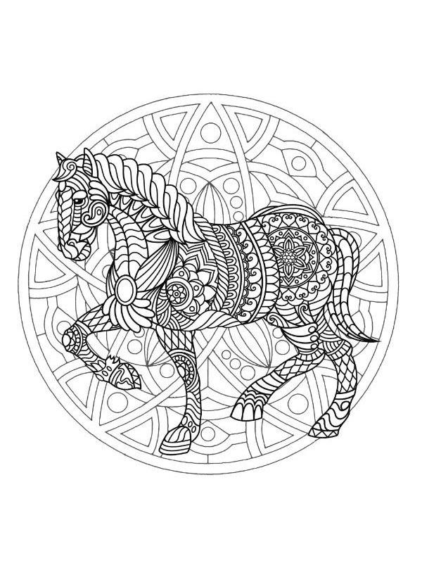ausmalbilder pferde mandala  mandala eines pferdekopfs